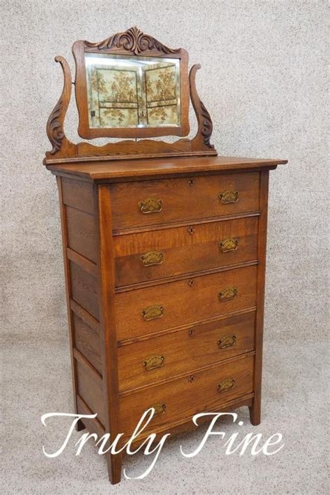 antique oak chest of drawers with mirror victorian oak antique highboy tall chest of drawers