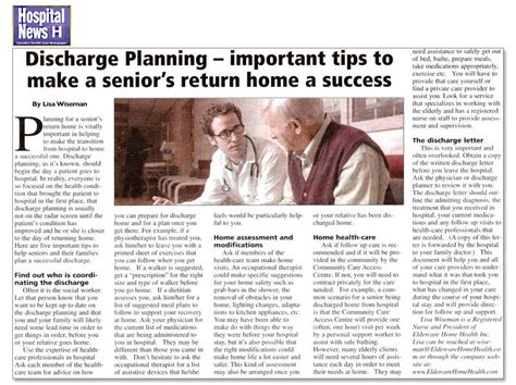 discharge planning from hospital to home discharge planning article from hospital news eldercare