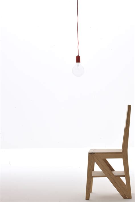 Oak Step Stool Chair by Zero Chair By Morelato Design Centro Ricerche Maam