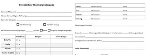 Was Beinhalten Nebenkosten Bei Einer Mietwohnung by Wohnungs 252 Bergabeprotokoll Muster F 252 R Wohnungs 252 Bergabe
