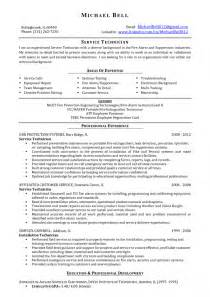 Resume Sle For Alarm Technician Protection Engineer Sle Resume Resume Cv Cover Letter