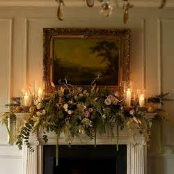 traditional flowers and fruit mantel swag christmas