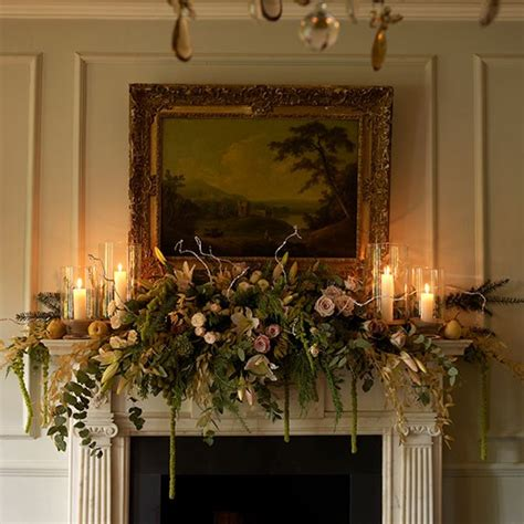 mantel swag traditional flowers and fruit mantel swag