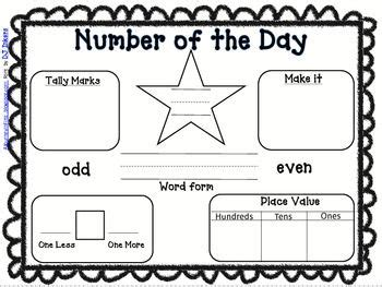 number of the day worksheet freebie number of the day kindergarten here i come