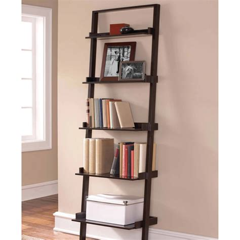 Leaning Ladder 5 Shelf Bookcase Espresso Walmart Com Leaning Ladder 5 Shelf Bookcase