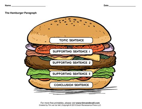 burger writing template hamburger graphic organizers hamburger paragraph template
