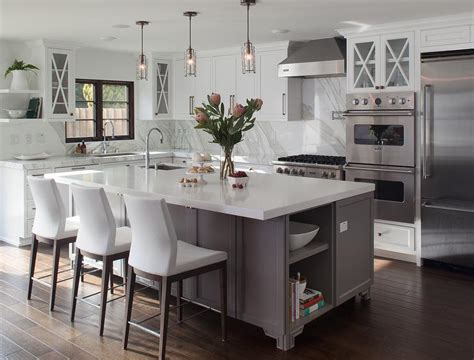 gray kitchen island gray footed center island with white leather counter stools transitional kitchen
