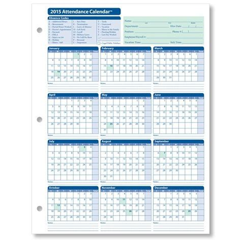printable yearly vacation calendar printable employee attendance calendar 2015 employee