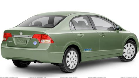 car white background 2010 honda civic gx side back pose in green n white