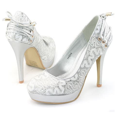 silver lace high heels shoezy womens silver lace glitter high heels platform