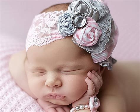 Headband Top Baby Frozen infant fabric flower rosettes headband gray light pink