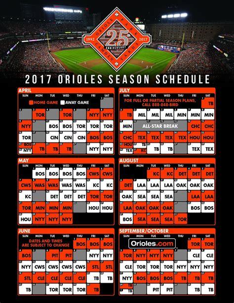printable orioles schedule baltimore orioles schedule