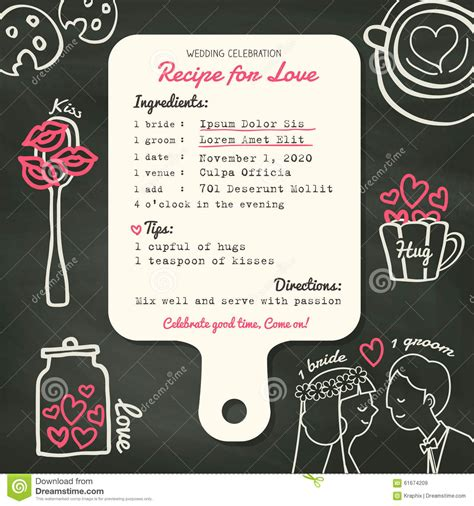 Recipe Card Creative Wedding Invitation Design With Cooking Concept Stock Vector   Image: 61674209