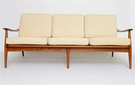 wide sofa danish 50s spindle back wide arm three seat sofa at 1stdibs