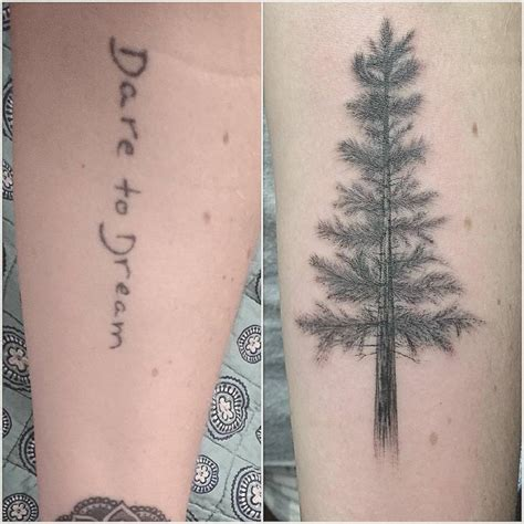 tattoo cover up forearm cover up tattoo of a pine tree on the forearm