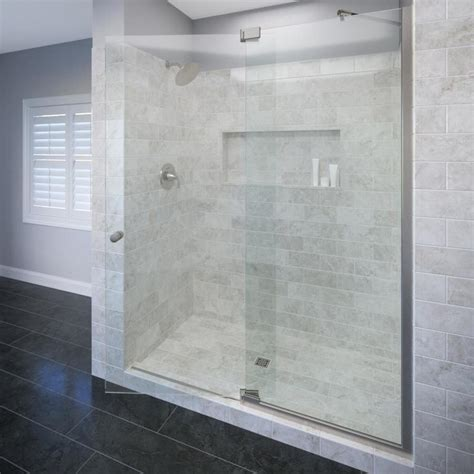 Basco Shower Doors Reviews Shop Basco Cantour 42 0125 In To 48 In Frameless Pivot Shower Door At Lowes