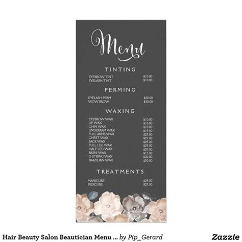 salon menu templates spa menu template search spa ideas