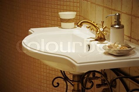 old fashioned bathroom sinks sink in interior of old fashioned bath room stock photo