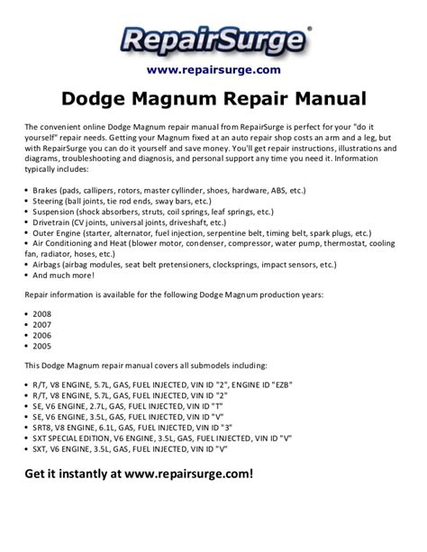 small engine repair manuals free download 2009 dodge dakota windshield wipe control dodge magnum repair manual 2005 2008