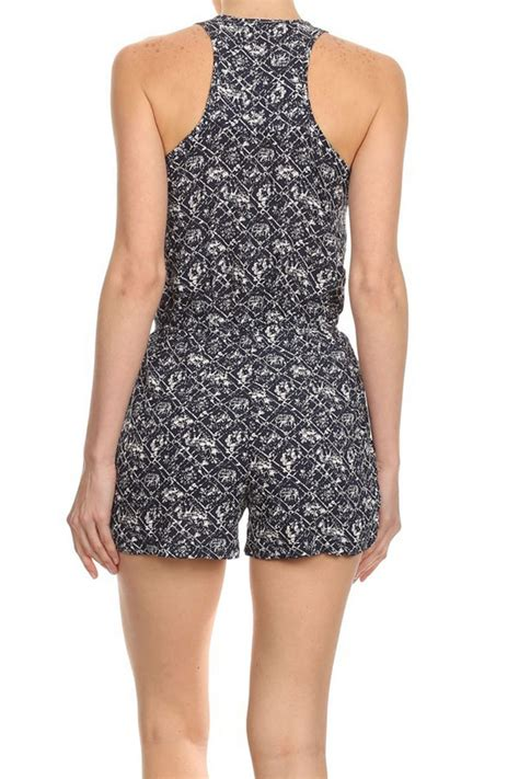 Sleeveless Printed Playsuit womens sleeveless romper printed jumpsuit shorts playsuit
