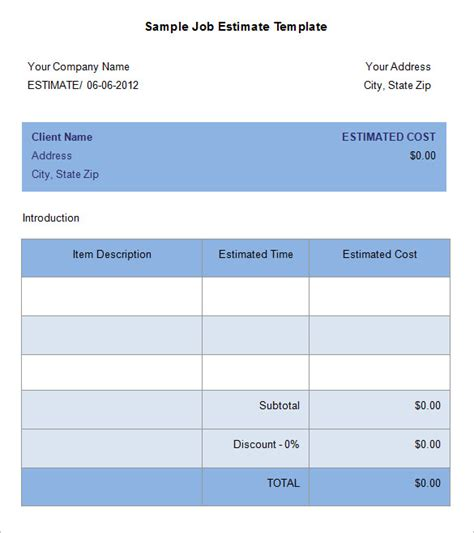 work estimate template 5 estimate templates free word excel pdf
