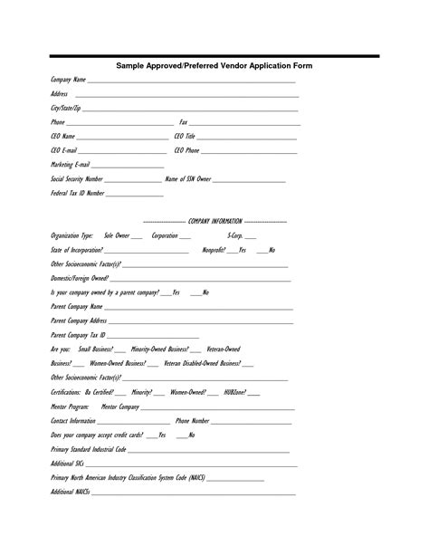 vendor information sheet template best photos of sle vendor form vendor information