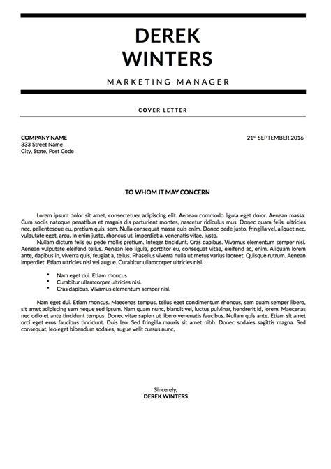 derek winters cover letter monochrome template
