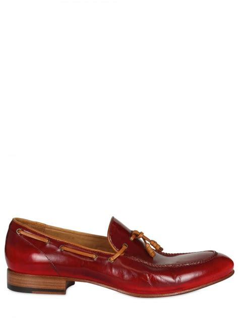 Sepatu Bally Mocasin Denim 02 ink washed leather moccasin in for bordeaux lyst