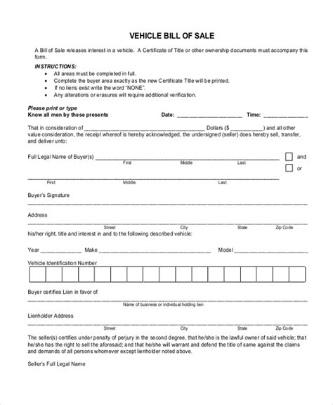 blank bill of sale form free bill of sale sle forms 8 free documents in pdf