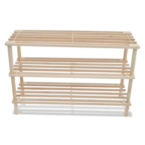 wood shoe rack vidaxl co uk wooden shoe rack 3 tier shoe shelf storage