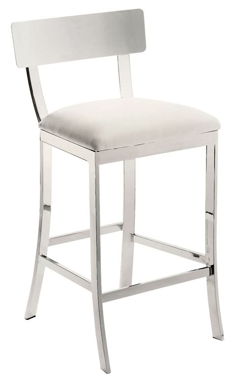 White Leather Counter Height Stools Furniture Stainless Steel Adjustable Counter Stool Based