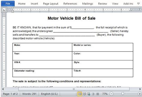Motor Vehicle Bill Of Sale Template For Word Auto Bill Of Sale Word Template