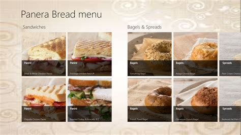 Panera Descriptions by Panera Bread Menu Free Windows Phone App Market