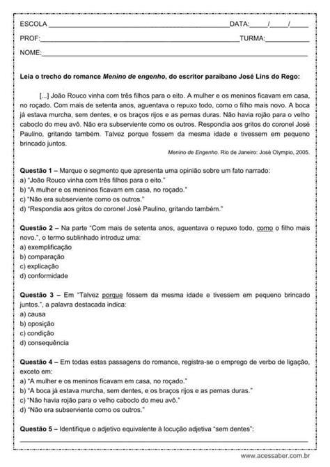 Atividade de português: Verbo de ligação - 9º ano