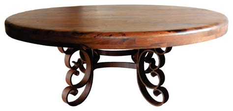 Rounded Edge Coffee Table Iron Mesquite Wood Top With Bull Nosed Edge Coffee Table Mediterranean Coffee Tables