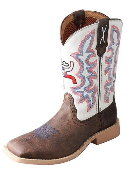 hooey cowboy boots twisted x youth unisex white leather brown hooey cowboy