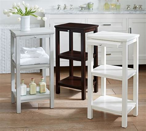 small storage table for bathroom small space floor storage pottery barn