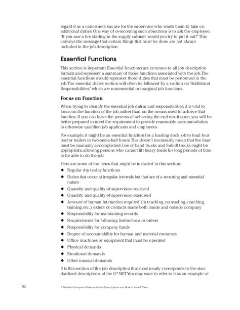 5 Mistakes Everyone Makes With Job Descriptions And How To Avoid Them Essential Functions Description Template