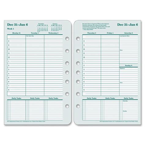 franklin covey calendar template franklin covey 35423 original planner refill weekly 1