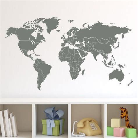world map wall stickers world map with countries borders wall decal