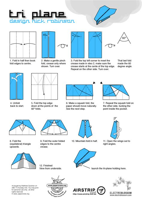 How To Make An Origami Plane - papercrane australian origami diagrams abc sunday arts