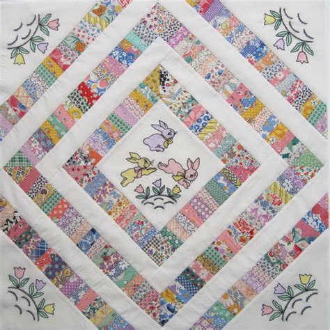 Embroidery Quilt by Embroidered Bunny Doll Quilt Top Q Is For Quilter