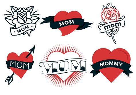 i love mom tattoo free vector stock graphics images