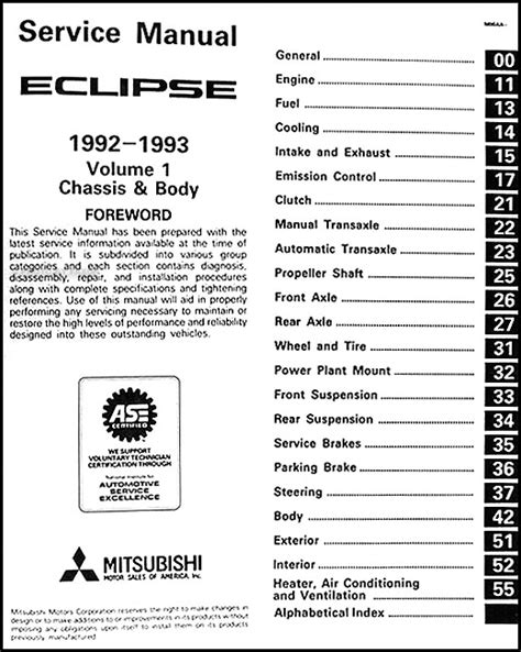 1992 1993 mitsubishi eclipse repair shop manual set original