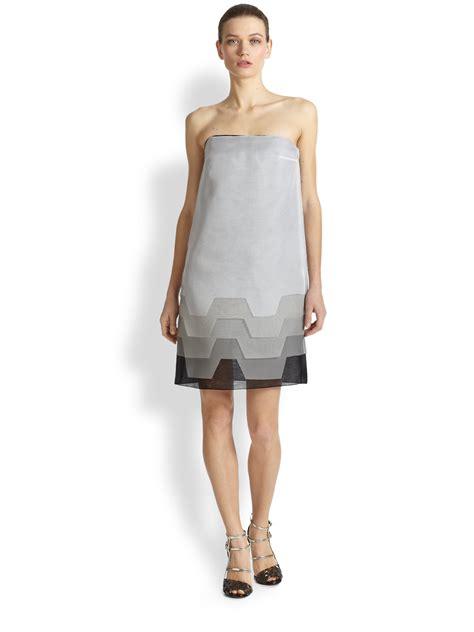 Gray Silk Dress 20738gym lyst fendi strapless layered silk organza dress in gray