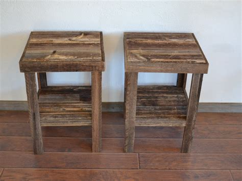 eco friendly barnwood wood  table  night stand pair