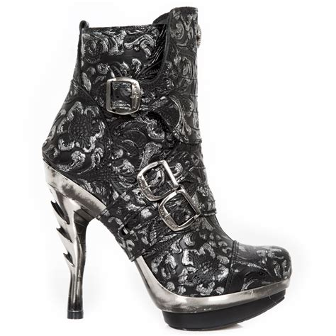 glitter high heel boots m punk098x s11 silver glitter floral leather new rock