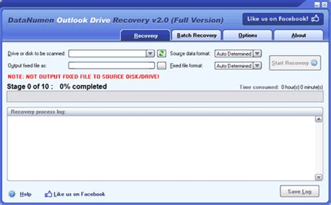 drive outlook datanumen outlook drive recovery recover lost outlook