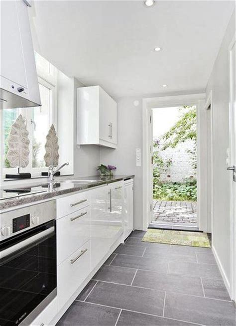white kitchens with floors rectangular tile staggered in a galley kitchen more