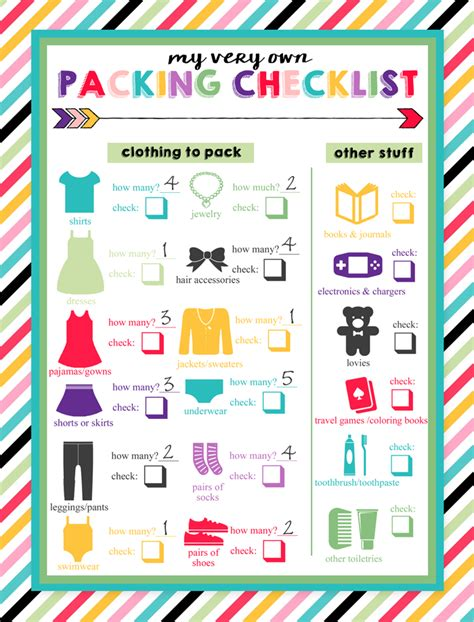 printable toddler packing list free printable children s packing lists free printable